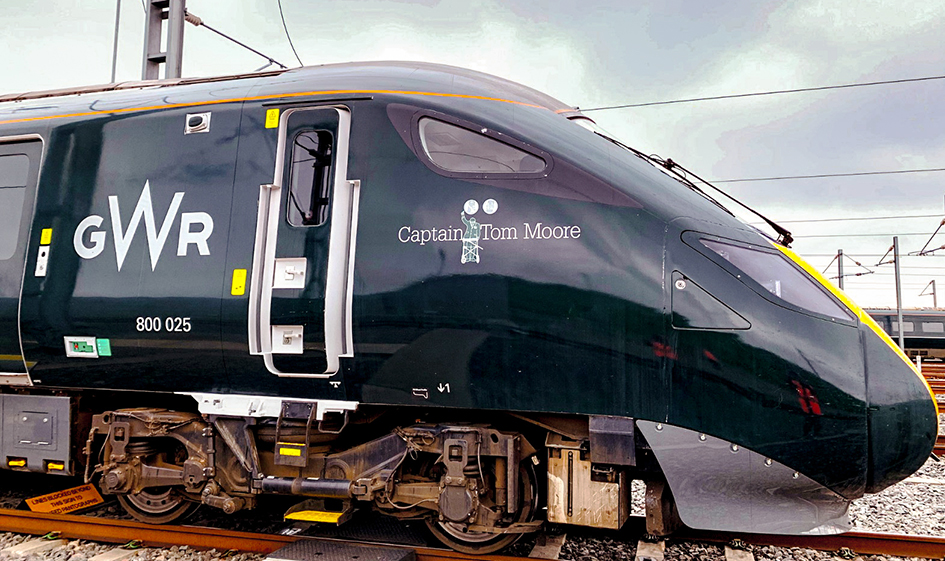 GWR Intercity Express Train 800025 named after Captain Tom Moore