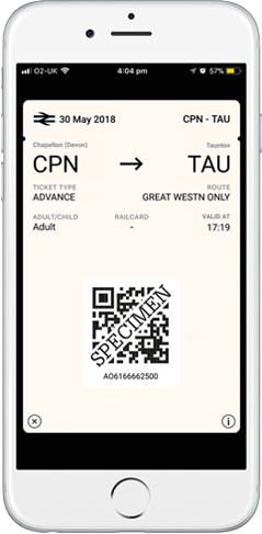 GWR Mobile e-Ticket example